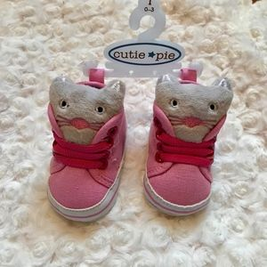 "SALE Pink Cat Face ""High-Tops"" for Baby Girl"
